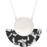 Claire's Black & White Resin Half Moon Long Pendant Necklace - Fashion Gifts