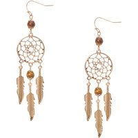 Claire's Gold And Brown Bead Dreamcatcher Drop Earrings - Brown Gifts