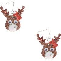 Claire's Novelty Reindeer Drop Earrings- Brown - Novelty Gifts