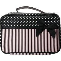 Claire's Polka Dot Stripe Divider Cosmetic Bag - Polka Dot Gifts