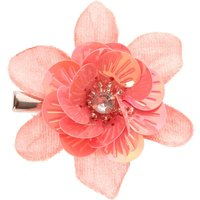 Claire's Glitter Sequin Mini Hair Flower Clips - Coral - Coral Gifts