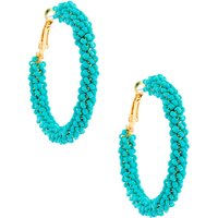 Claire's Gold 50MM Beaded Hoop Earrings - Turquoise - Jewellery Gifts