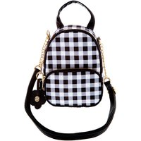 Claire's Daisy Gingham Mini Backpack Crossbody Bag - Black - Backpack Gifts