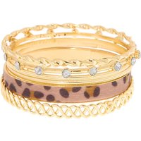 Claire's Gold Leopard Bangle Bracelets - 6 Pack - Claires Gifts