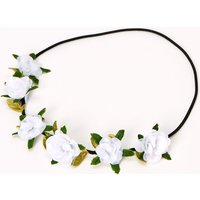 Claire's Leaves & Roses Flower Crown Headwrap - Ivory - Ivory Gifts