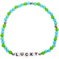 Claire's Lucky Beaded Stretch Bracelet - Green - Bracelet Gifts
