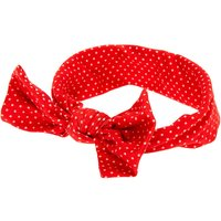 Claire's Club Knotted Bow Polka Dot Headwrap - Red - Polka Dot Gifts