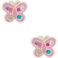 Claire's Sterling Silver Rainbow Stone Butterfly Stud Earrings - Lilac - Lilac Gifts