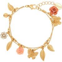 Claire's Gold Romantic Garden Charm Bracelet - Charm Bracelet Gifts