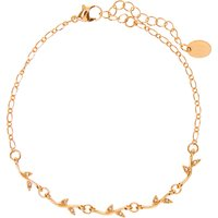 Claire's Gold Crystal Leaf Chain Anklet - Crystal Gifts