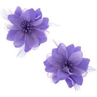 Claire's Lavender Feather Flower Hair Clips - Lavender Gifts
