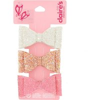 Claire's Claire's Club Glitter Bow Hair Clips - 3 Pack - Glitter Gifts
