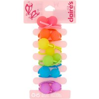 Claire's Club Rainbow Soft Touch Hair Ties - 6 Pack - Soft Gifts