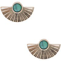 Claire's Silver Stone Fan Stud Earrings - Turquoise - Turquoise Gifts