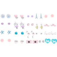Claire's Girly Pastel Stud Earrings - 20 Pack - Girly Gifts