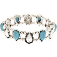 Claire's Antique Silver Teardrop Stretch Bracelet - Turquoise - Turquoise Gifts