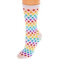 Claire's Rainbow Hearts Crew Socks - White - Rainbow Gifts