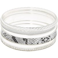 Claire's Silver Snake Skin Bangle Bracelets - 7 Pack - Snake Gifts