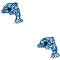 Claire's Silver Dolphin Magnetic Stud Earrings - Blue - Dolphin Gifts