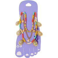 Claire's Gold Tropical Beaded Cowrie Shell Multi Strand Anklet - Claires Gifts