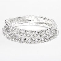 Claire's Silver Rhinestone & Pearl Stretch Bracelets - 5 Pack - Pearl Gifts