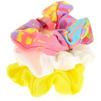 Claire's Tropical Hair Scrunchies - Yellow, 3 Pack - Hair Gifts