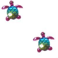 Claire's Pink Holographic Scale Turtle Clip On Earrings - Turtle Gifts