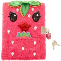 Claire's Dottie The Strawberry Sequin Lock Plush Notebook - Strawberry Gifts