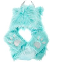 Claire's Furry Yeti Hood With Paw Gloves & Scarf - Turquoise - Turquoise Gifts