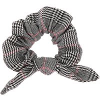 Claire's Glen Plaid Knotted Bow Hair Scrunchie - Black - Hair Gifts