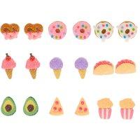 Claire's Glitter Snacks Stud Earrings - 9 Pack - Glitter Gifts