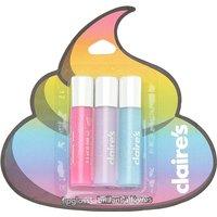 Claire's Rainbow Poop Emoji Mini Flavoured Lip Gloss Set, 3 Pack - Mini Gifts