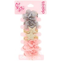 Claire's Kids 6 Pack Chiffon Flower & Star Hair Bobbles - Ties Gifts