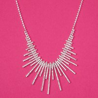 Claire's Silver Rhinestone Sunburst Statement Necklace - Silver Gifts