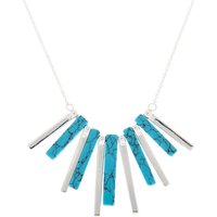 Claire's Silver Marble Stick Statement Necklace - Turquoise - Turquoise Gifts