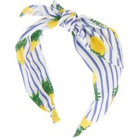 Claire's Pineapple Stripe Knotted Bow Headband - Yellow - Pineapple Gifts
