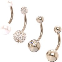 Claire's Silver 14G Sparkly Pearl Belly Rings - 4 Pack - Sparkly Gifts