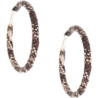 Claire's 70MM Snake Skin Wrapped Hoop Earrings - Black - Snake Gifts