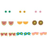Claire's Silver Glitter Fruit Glasses Stud Earrings - 9 Pack - Jewellery Gifts