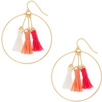 Claire's Pink & Coral Tassel Circle Drop Earrings - Coral Gifts