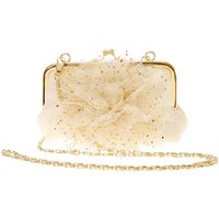 Claire's Club Gold Flower Crossbody Bag - Ivory - Ivory Gifts
