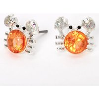 Claire's Silver Stone Crab Stud Earrings - Coral - Coral Gifts