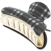 Claire's Checkered Hair Claw - Black - Hair Gifts