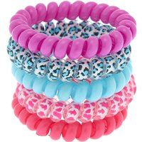 Claire's Bright Leopard Spiral Hair Bobbles - 5 Pack Bracelet - Ties Gifts