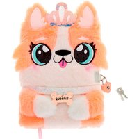 Claire's Queenie The Corgi Plush Lock Diary - Coral - Coral Gifts