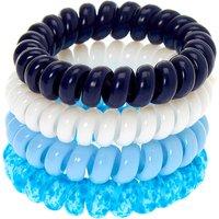 Claire's Solid Splatter Spiral Hair Bobbles - Blue, 4 Pack Bracelet - Bracelet Gifts