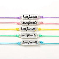Claire's Pastel Plaque Adjustable Friendship Bracelets - 5 Pack - Friendship Gifts