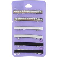 Claire's Hematite Pearl Metallic Hair Barrettes - 3 Pack - Claires Gifts