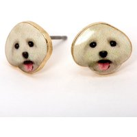 Claire's Gold White Dog Stud Earrings - Earrings Gifts