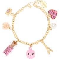Claire's Gold Paris Charm Bracelet - Pink - Paris Gifts